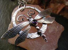 RESERVED for Sharon ,Silver Dragonfly circle pendant with amethyst and silver balls