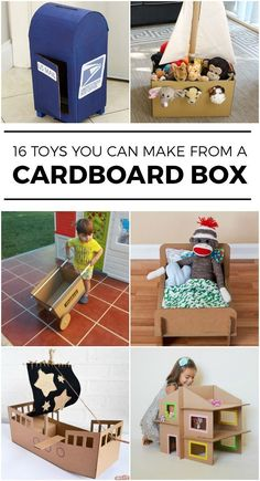 16 Toys you can make with an empty box .- 16 Spielzeug, das Sie mit einem leeren Karton herstellen können – Baby 16 toys that you can make with an empty cardboard box - Kids Crafts, Toddler Crafts, Projects For Kids, Diy For Kids, Toddler Toys, Summer Crafts, Cardboard Box Crafts, Cardboard Toys, Cardboard Box Ideas For Kids