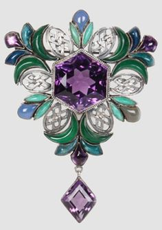 "An Arts and Crafts ""Carpet of Gems"" brooch, by Sibyl Dunlop, circa 1920. Composed of amethysts, cabochon chalcedonies and silver.  #SibylDunlop #ArtsCrafts #brooch"