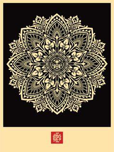 ☯☮ॐ American Hippie Psychedelic Art ~ Black Mandala - OBEY Shepard Fairey street artist . . revolution OBEY style, street graffiti, illustration and design posters.