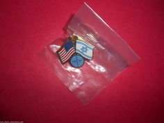 ISRAEL PAN AM AIRLINES GLOBE USA 2 FLAG PILOT UNIFORM LAPEL HAT TAC SERVICE PIN