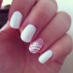 Lace wedding nails. Maybe with nude instead of white, except for the nail with the lace design.