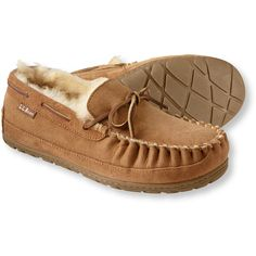 L.L.Bean Women's Wicked Good Camp Moccasins ($69) ❤ liked on Polyvore featuring shoes, loafers, llbean, slippers, synthetic shoes, traction shoes, camp moccasins, fur moccasins and mocasin shoes