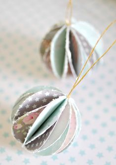 DIY: pretty paper baubles...live this...could use old birthday cards, Christmas cards, vintage clothe modge podged onto paper!