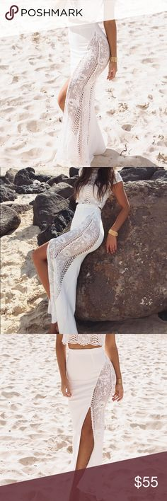 Sabo Skirt Luxe High Slit Maxi Rose Crochet Ridiculously beautiful white beachy rose slit skirt. I will be sad to see it go but it's Barely been worn while in Santorini. Size M. Sabo Skirt Luxe- skirt only. Sabo Skirt Skirts Maxi