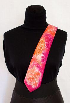 Silk TIE RED COLOR pink tie handpaint man tie elegant by InSetArte