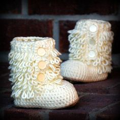 Baby Booties PDF Crochet Pattern Furrylicious by TwoGirlsPatterns, $5.50
