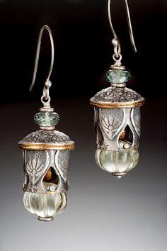 Green Amethyst Melon Lantern Earrings.... fine silver, 24k gold, moss aquamarine, golden coral, green amethyst...