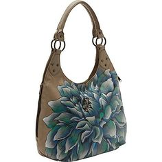 @eBags #anuschka #large #shoulder #hobo #leather #bag with #handpainted #blue #flower. http://zodiacfashion.blogspot.com/