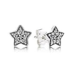 PANDORA Pavé Star Stud Silver Earrings | Special price: £29.98 | Buy now: http://www.pandorasale2012.com/pandora-silver-earrings.html