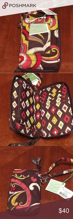 All in one wristlet Abstract design wristlet. Never used before Vera Bradley Bags Clutches & Wristlets