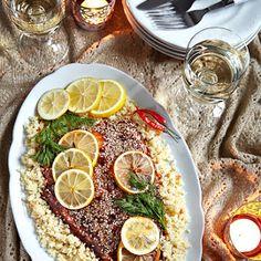 Łosoś w słodko-pikantnej marynacie na cytrynowym kuskusie