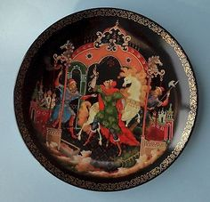 LOMONOSOV Porcelain PALEKH Lacquer RUSSIAN FOLK Fairy Tale FIREBIRD DECO PLATE 5