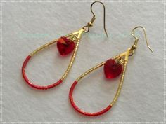 teardrop hoops with swarovski heart centers ~ https://www.facebook.com/pages/Beaded-Moon-Designs/229870373249