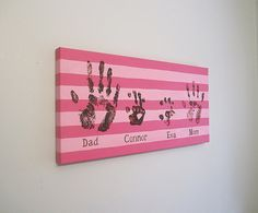"Any Color, Stripe Family Handprint or Footprint Canvas Art, Personalized, Stripes, Handpainted Keepsake with Print Kit, 12""x24"" on Etsy, £28.67"