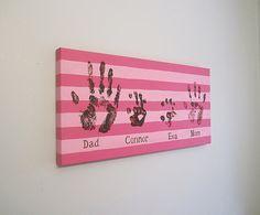 "Family Handprint or Footprint Canvas Art with Print Kit, Custom, Stripe, Personalized, Stripes, Handpainted Keepsake, 12""x24"""