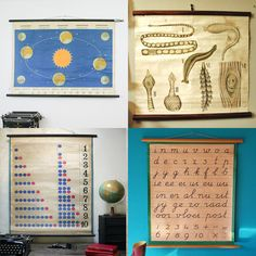 Vintage school charts. Click on image for tutorial on how to make your own.