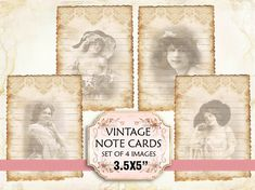Vintage Woman Note Cards Shabby chic paper Scrapbook Decoupage