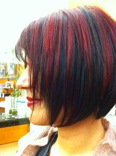 Haare mit strähnen schwarze roten Blonde haare