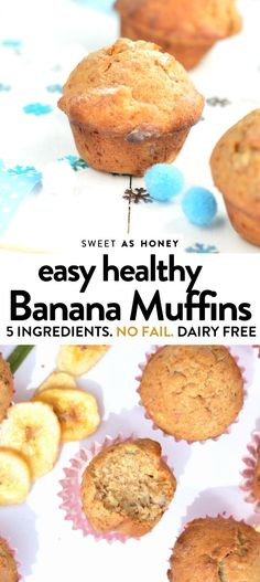 Delicious moist banana muffins with honey. An healthy wholewheat banana muffins … Delicious moist banana muffins with honey. An healthy wholewheat banana muffins or toddler banana muffins for party Easy Healthy Banana Muffins, Banana Blueberry Muffins, Easy Banana Bread Muffins, Honey Muffins Recipe, Healthy Banana Recipes, Breakfast Muffins, Honey Recipes, Baby Food Recipes, Baking With Toddlers