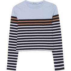 T BY ALEXANDER WANG Stripe Crop Ice Multi // Striped cropped fine knit... (€219) ❤ liked on Polyvore featuring tops, sweaters, crop top, fine knit sweater, striped long sleeve top, striped crop top, striped sweater and slim fit sweater