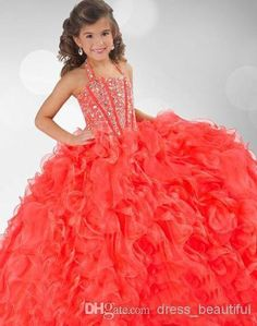 Discount 2014 New Coral Organza Halter Ruffles Crystals Beaded Flower Girl Ball Gown Pageant Dresses RG 6349 Cheap for Sale Online with $81.05/Piece | DHgate