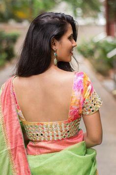 Deep back neck blouse designs