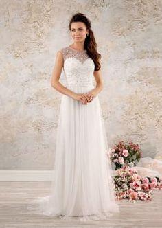 Modern Vintage Wedding Dress with Sheer Overlay Bodice