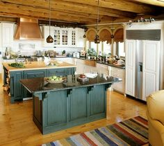 Rustic Kitchen look I am going for: a watery green (like from a lake) on the bottom cabinets.  The top cabinets in white and opened up for a more cottagey/relaxed feeling.  Nice!