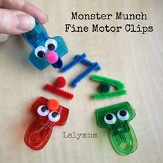 Sesame Street Clips for Fine Motor Fun, Party Favors or Busy Bag from Lalymom Motor Skills Activities, Gross Motor Skills, Preschool Activities, Children Activities, Therapy Activities, Physical Activities, Games For Kids, Diy For Kids, Crafts For Kids