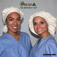 Green Scrubs - Tie Bonnet Hat - Hemp Twill Designed and made by Green Scrubs in California.