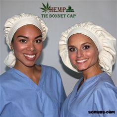 Green Scrubs - Tie Bonnet Hat - Hemp Twill Designed and made by Green Scrubs in California.