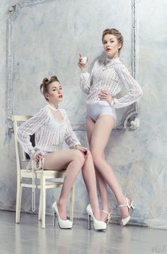 Buy Two pretty women in white costumes by FlexDreams on PhotoDune. Two pretty women in white costumes posing in white room Popular Photography, Artistic Photography, Portrait Photography, Fashion Photography, Inspiring Photography, Pin Up, White Costumes, Female Models, Women Models