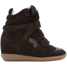 Isabel Marant Black Bekett Wedge Sneakers ($555) ❤ liked on Polyvore featuring shoes, sneakers, black sneakers, leather wedge sneakers, black hidden wedge sneakers, velcro sneakers and black leather high tops