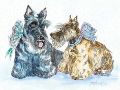 SCOTTISH TERRIER PAIR Original Watercolor on Ink Print Matted 11x14 Ready to Frame