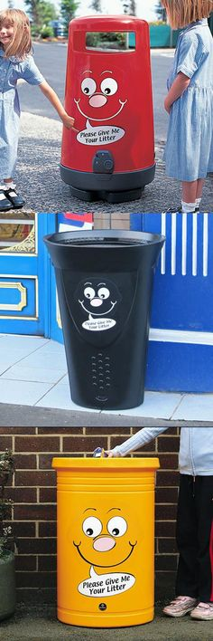 Brighten up your litter collection with the Billy Bin-it™ character.  Available with Topsy™ 2000, Luna™ or Commodore™ Litter Bins, Billy Bin-it™ makes responsible disposal of litter fun for children of all ages. #GlasdonUK #ExternalLitter #InternalLitter #Bins #Novelty