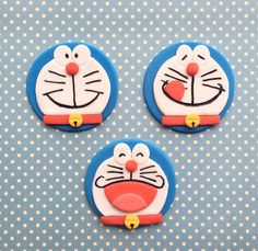 12 Doraemon Fondant Cupcake Toppers by HoneyTheCake on Etsy