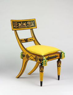 This brilliantly conceived and handsomely executed chair derives its broad, deeply curved crest tablet from the ancient Greek klismos form, and its turned front legs from Roman prototypes. During the James Madison administration (1809–17), the architect Benjamin Latrobe designed a suite of painted furniture for the White House in the latest Grecian style