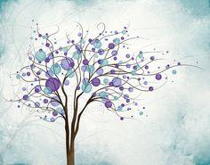 Colorful Circle Wall Decor Aqua and Purple by NaturesHeavenlyArt