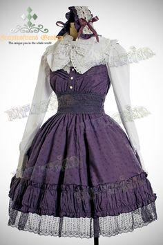 Classic Lolita Vintage Lace Shirring High Waist OP Dress*5color Instant