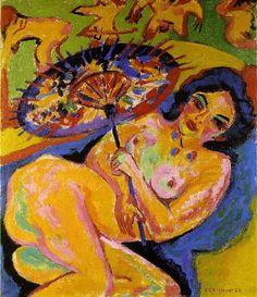 """#Expresionismo. Los artistas pertenecientes a este movimiento intentaban mostrar una visión interior del mundo que observaban.   En la obra """"Mujer bajo un parasol japonés (1909)"""", se puede comprobar como Ernst Ludwig Kirchner experimenta con su característico estilo, jugando con la forma y el color para mostrar con un acabado muy visual, como él la percibía."""
