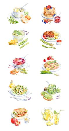 watercolor food for Afisha-Eda by Natalia Tyulkina, via Behance