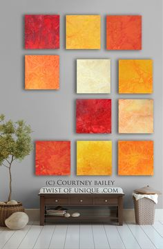 Bright Abstract art, 11 square CUSTOM Abstract Wall Art, Large abstract painting, Red, Orange, yellow, Gold,