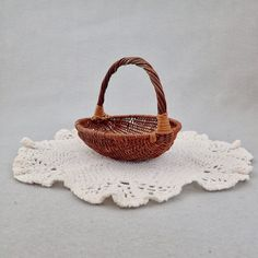 Vintage Miniature Woven Wicker Basket Mini Easter Basket Doll House Supply Woodland Kitchen Shabby Chic Holiday Gift Basket Craft Project by injoytreasures on Etsy