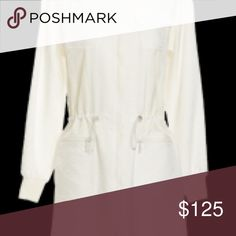 White coated cotton anorak coat A zippered coated cotton three quarter length coat with a cinched waist. Runs on the larger side Worth Jackets & Coats