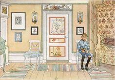 In The Punishment Corner-Carl Larsson – Swedish Realist Painter) Carl Larsson, Swedish Style, Swedish House, Swedish Decor, Swedish Wallpaper, Vibeke Design, Scandinavian Art, Arts And Crafts Movement, Museum Of Fine Arts