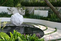 The Cancer Research UK Garden by Robert Myers for Chelsea Flower Show 2009 Chelsea London, Landscape Elements, Landscape Design, Indoor Water Features, Small Fountains, Fountain Design, Tabletop Fountain, Creative Landscape, Garden Design Plans
