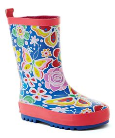 Look at this Wootie Pink & Blue Floral Rain Boot on #zulily today!