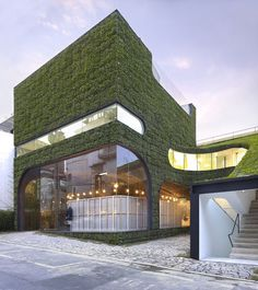 Architects Minsuk Cho and Kisu Park of Mass Studies designed this grass covered multi-level building to house Belgian fashion designer Ann Demeulemeester's store in Seoul, South Korea.    The building was completed in October 2007 and uses foliage to cover both the external and internal wall surfaces.