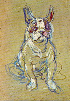 Henri de Toulouse Lautrec - Bulldog I love this little unfinished painting, that's when you see these unfinished paintings that you realize the importance of movement to bring life to drawings and. Cãezinhos Bulldog, French Bulldog, Henri De Toulouse-lautrec, Illustration Art, Illustrations, Dog Portraits, Andy Warhol, Animal Paintings, Dog Art